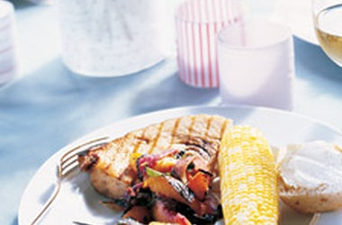 Grilled Swordfish with Nectarine-Onion Salsa Recipes. #Recipes