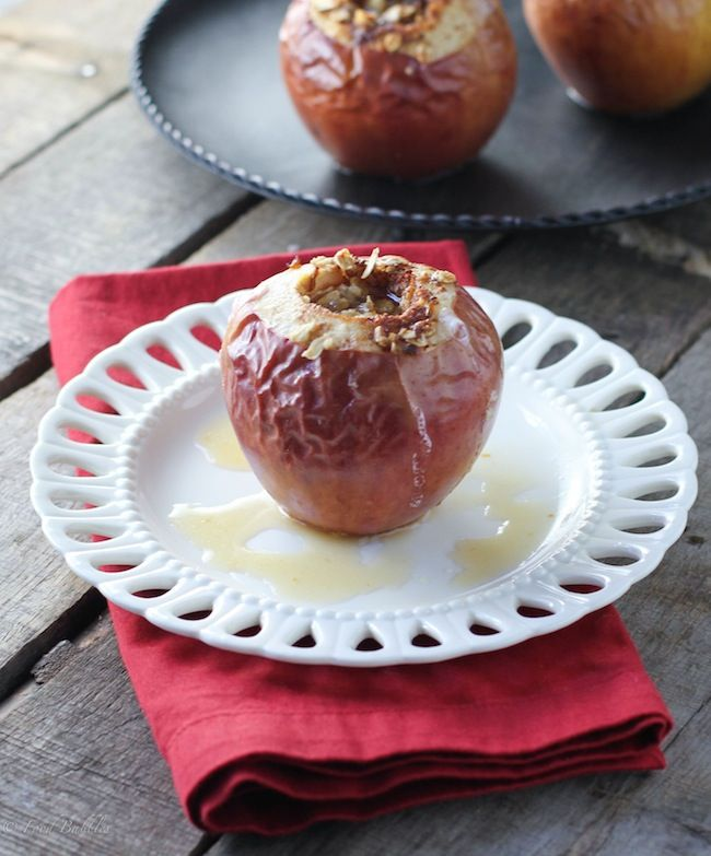 Spiced Oatmeal Baked Apples - A quick, easy to make dessert that could even pass as a special breakfast