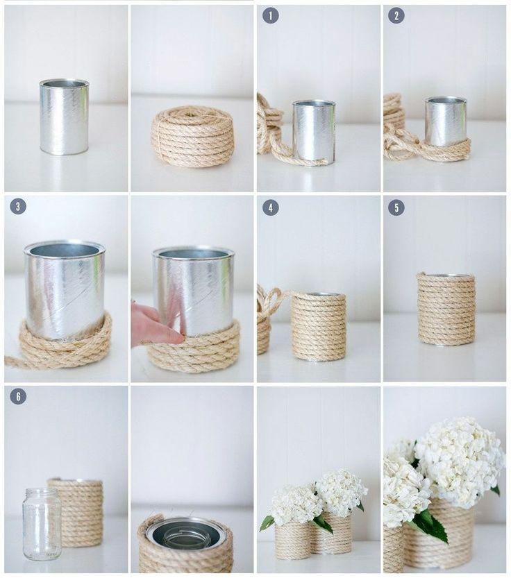 decorazioni giardino idee fresche chic : portafiori Fai Da Te, lattina e corda. DIY Pinterest