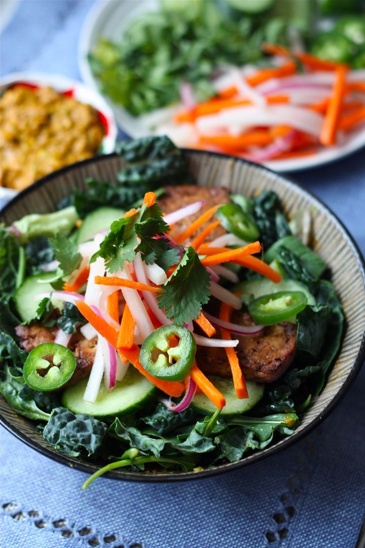 "Lemongrass Tofu Banh Mi Bowl with Avocado-Sriracha ""Mayo"" and ..."