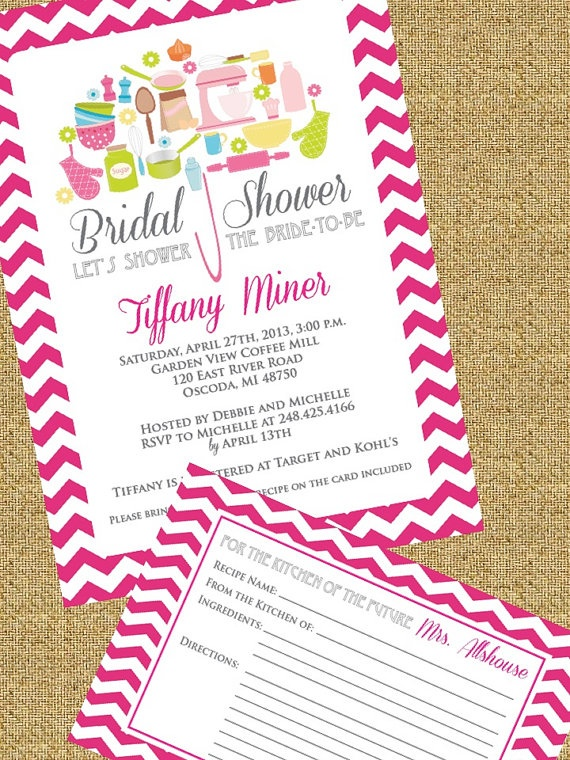 Chevron Kitchen Bridal Shower Invitation with matching Recipe card by ...