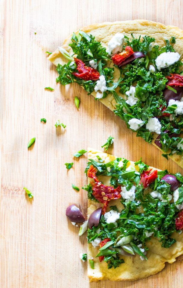 Socca for One : With Sundried Tomatoes, Kale and Feta