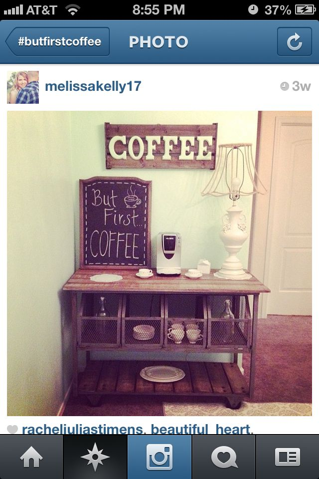 Coffee bar! I really like this idea. Instead of a kitchen Island create a coffee bar and place it against the wall. It would clear off alot of space on our counters and put my morning coffee zone in one location.