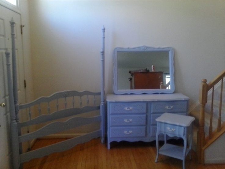 French Bedroom Suite Painted In Blue Painted Furniture