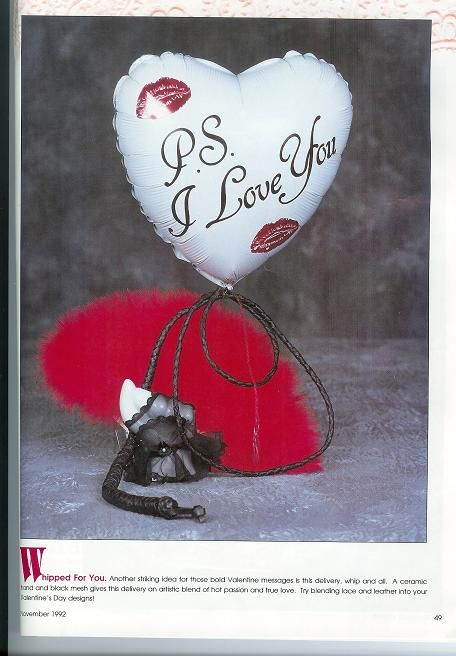 This Naughty but Nice centerpiece design combines the softness of feathers and lace, with the rugedness of leather... A mylar balloon finishes it off with the perfect sentiment.       A Nancyfangles Design