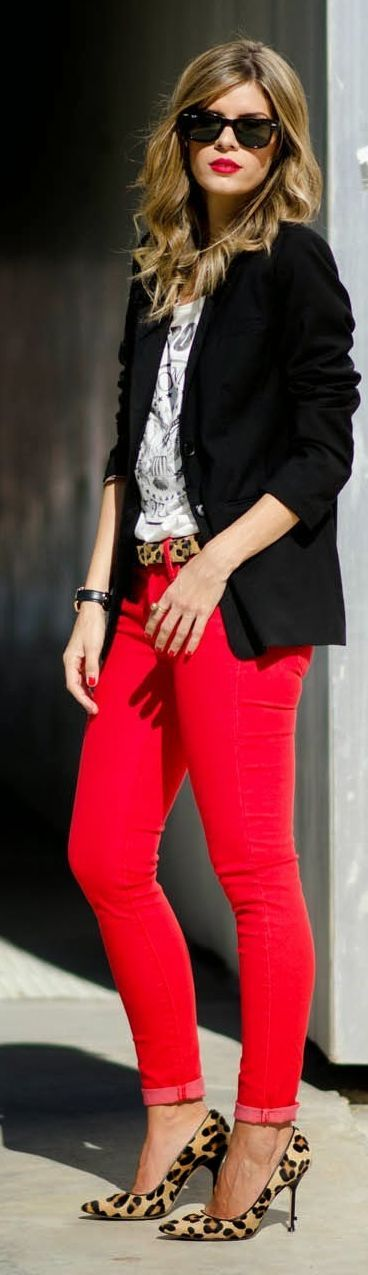 Black blazer, printed tee shirt, red skinny, leopard belted and nude leopard pumps.