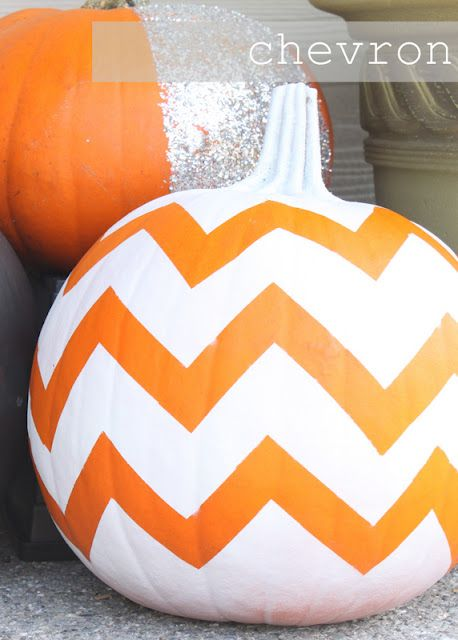 Chevron Painted Pumpkin -- design made with masking tape and then painted white.
