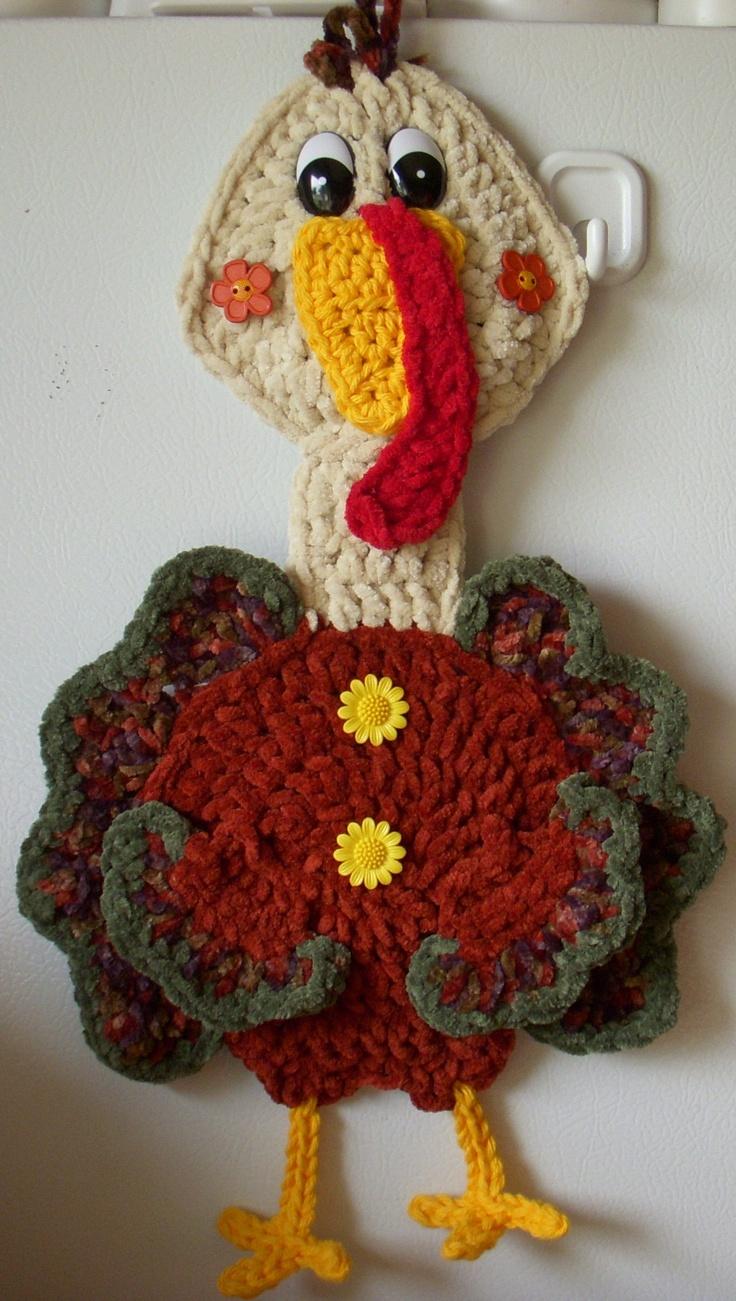 Crochet Turkey, wall decor, by Jerre Lollman