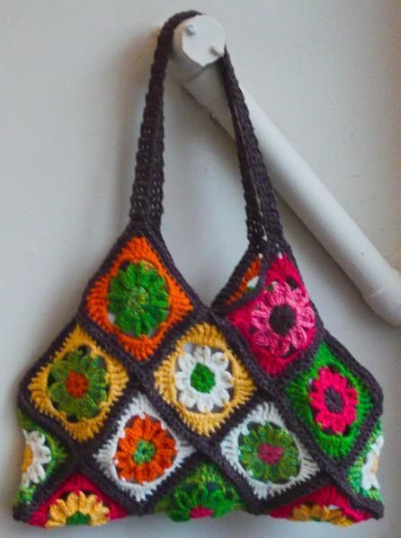 Granny square bag Crochet Pinterest