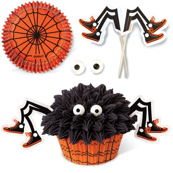 spider cupcakes are easy to make using Wilton's Spooky Pop Spider ...