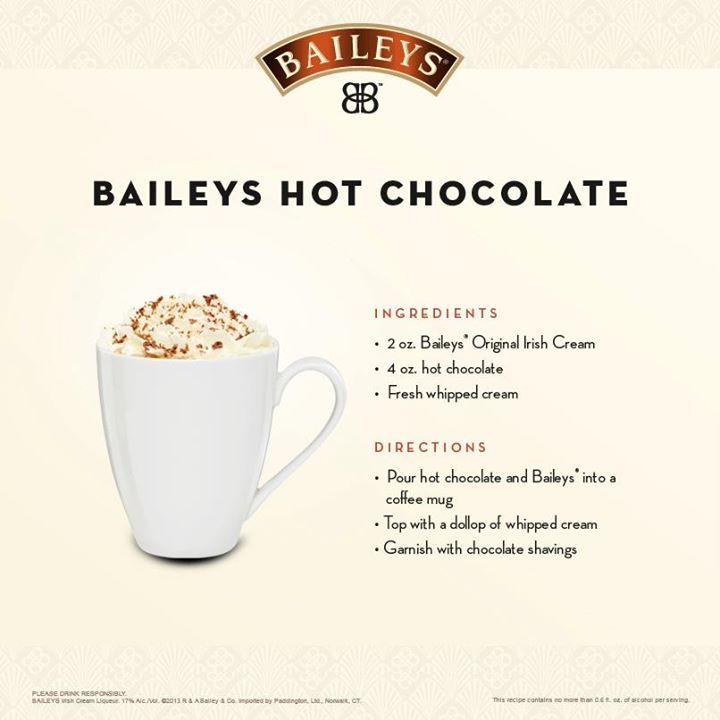 Bailey Hot Chocolate | Bailey's Drinks recipes | Pinterest