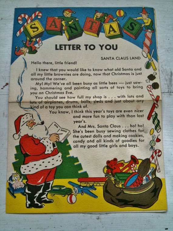 original 1948 letter from santa good boys and giris santa With original letter from santa