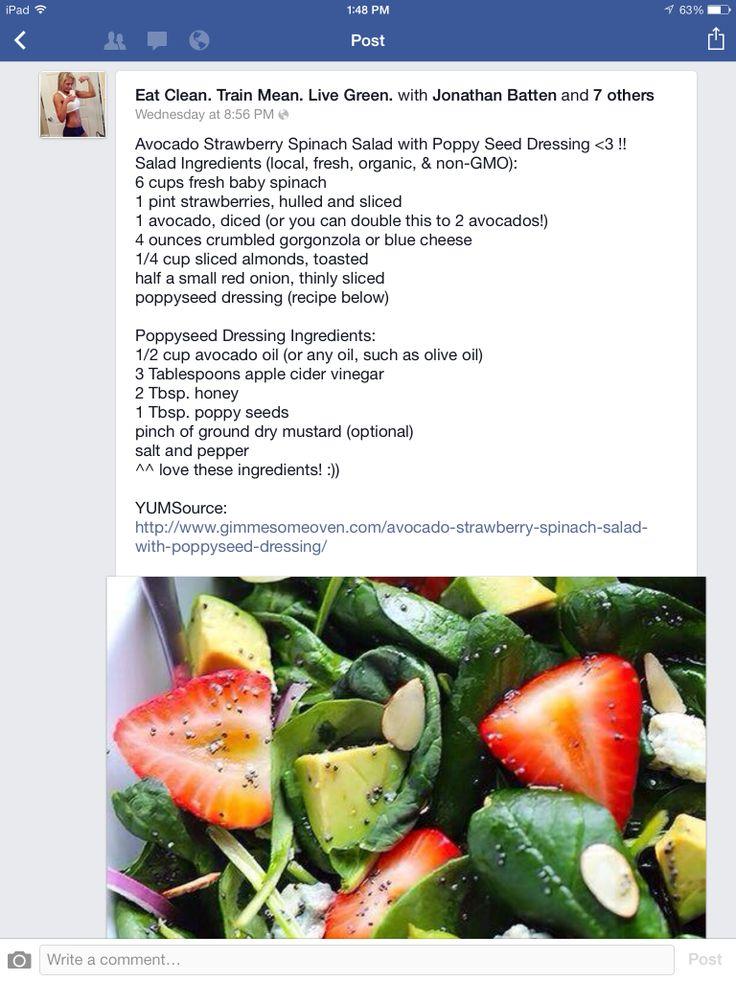 Strawberry Avocado Spinach Salad | Salad ideas | Pinterest