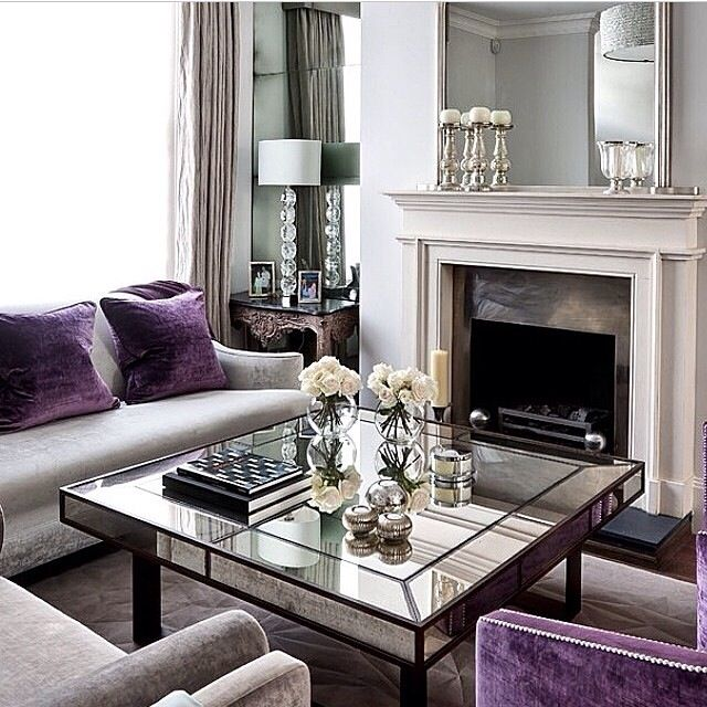 Girly decor elegant living space pinterest for Purple and grey living room ideas
