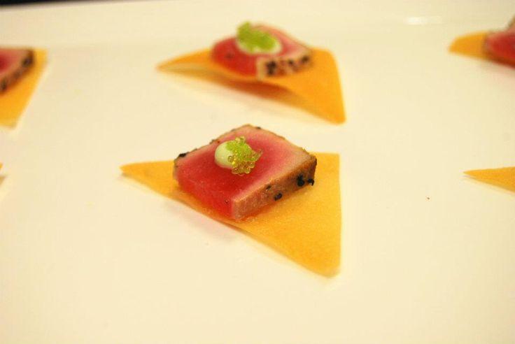 Seared Tuna on Wonton Crisp with Wasabi Caviar www ...