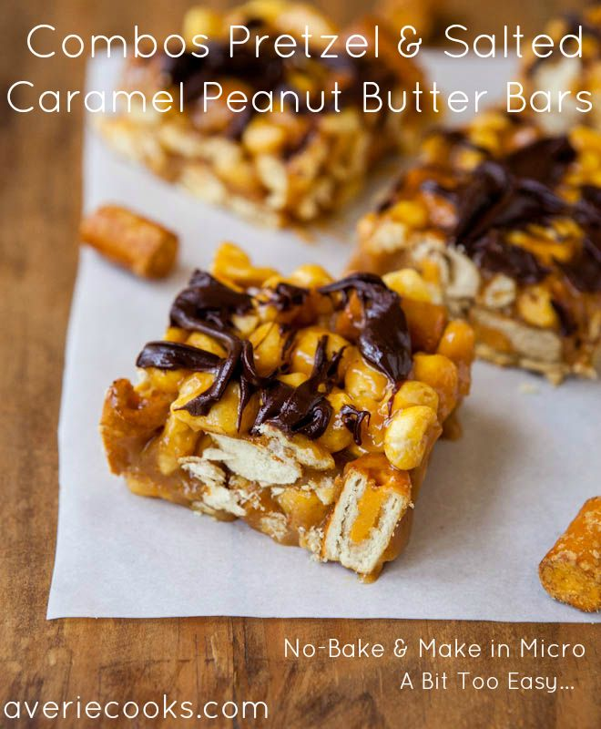 Combos Pretzel & Salted Caramel Peanut Butter Bars (No-Bake) Make caramel-PB sauce in micro. Salty 'n sweet, ready in minutes, way too easy
