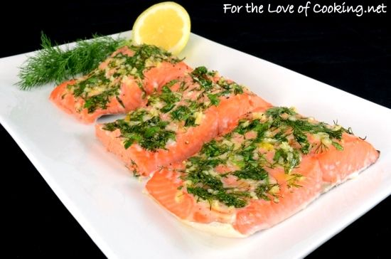 Slow-Roasted Salmon with Garlic, Dill, Parsley, Tarragon, and Lemon