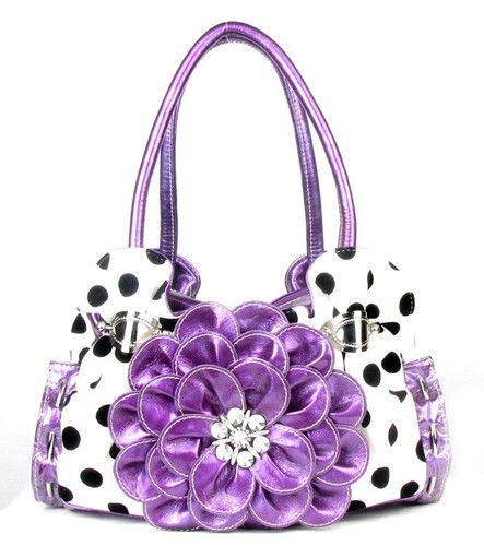 ... Sassy Purple Polka Dot Rhinestone Flower Western Handbag Purse | eBay