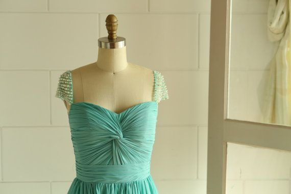 Ivory mint blue chiffon wedding dress bridesmaid dress long prom dress