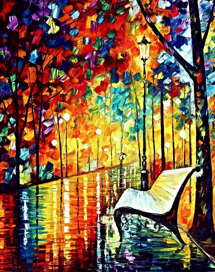 Night rain park bench oil painting   Life in Pictures   Pinterest