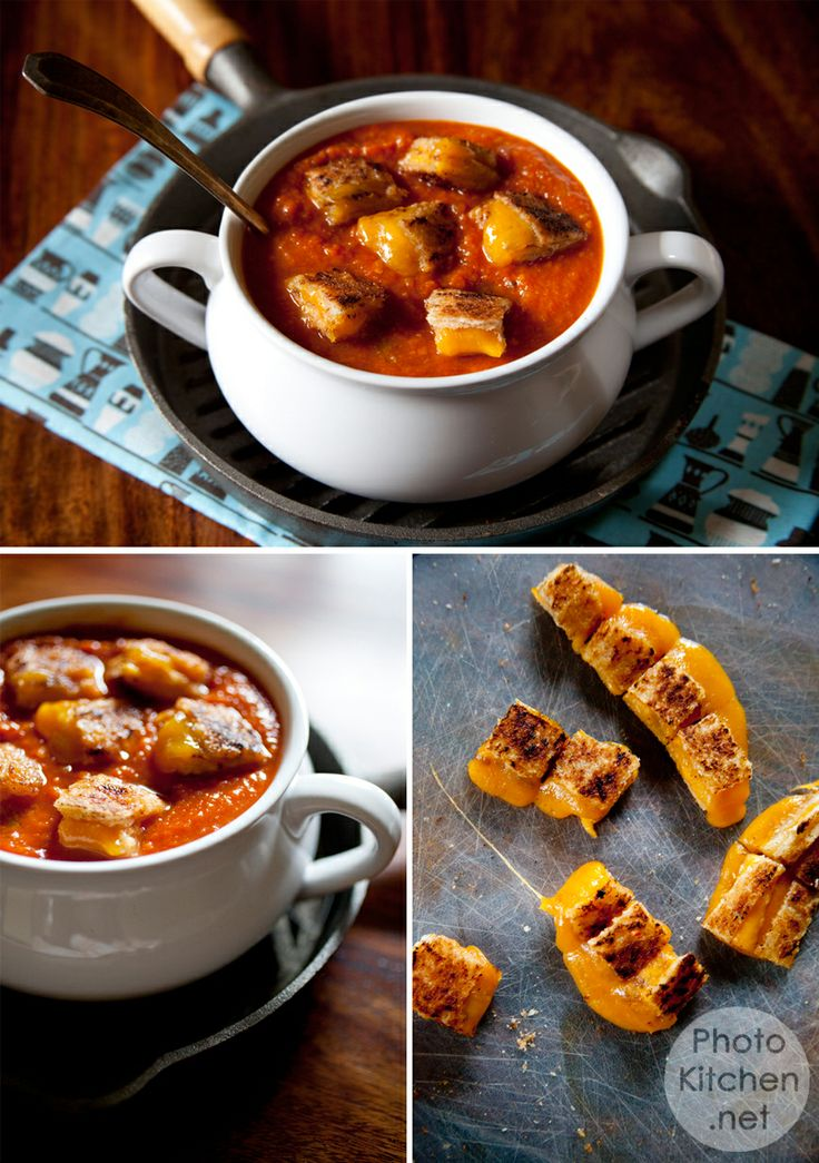 Tomato Soup with Grilled Cheese Croutons | Soup or Salad!! | Pinterest