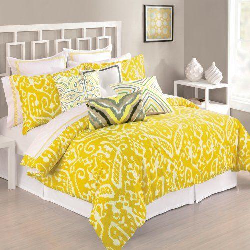 Trina turk 3 piece ikat comforter set queen yellow trina turk http