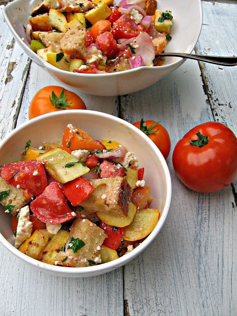 Stacked Tomato, Summer Vegetable And Grilled Bread Salad Recipe ...