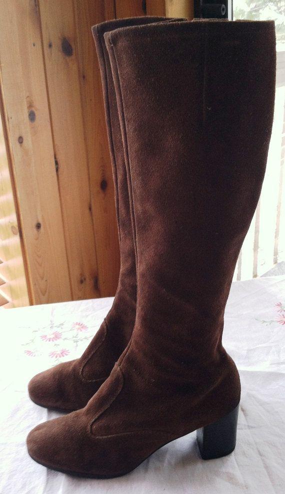 groovy go go boots vintage 1960 1970 brown suede 7 half m