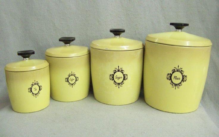 vintage west bend metal kitchen canister set harvest gold