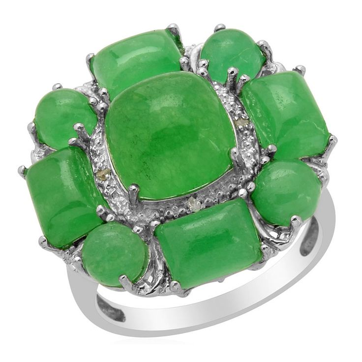 Liquidation channel enhanced green jade and diamond ring for Liquidation tv