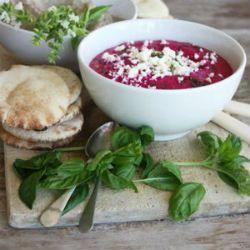 Beetroot Hummus: 6 medium beetroots 1 can chickpeas 1/2 wheel feta ...
