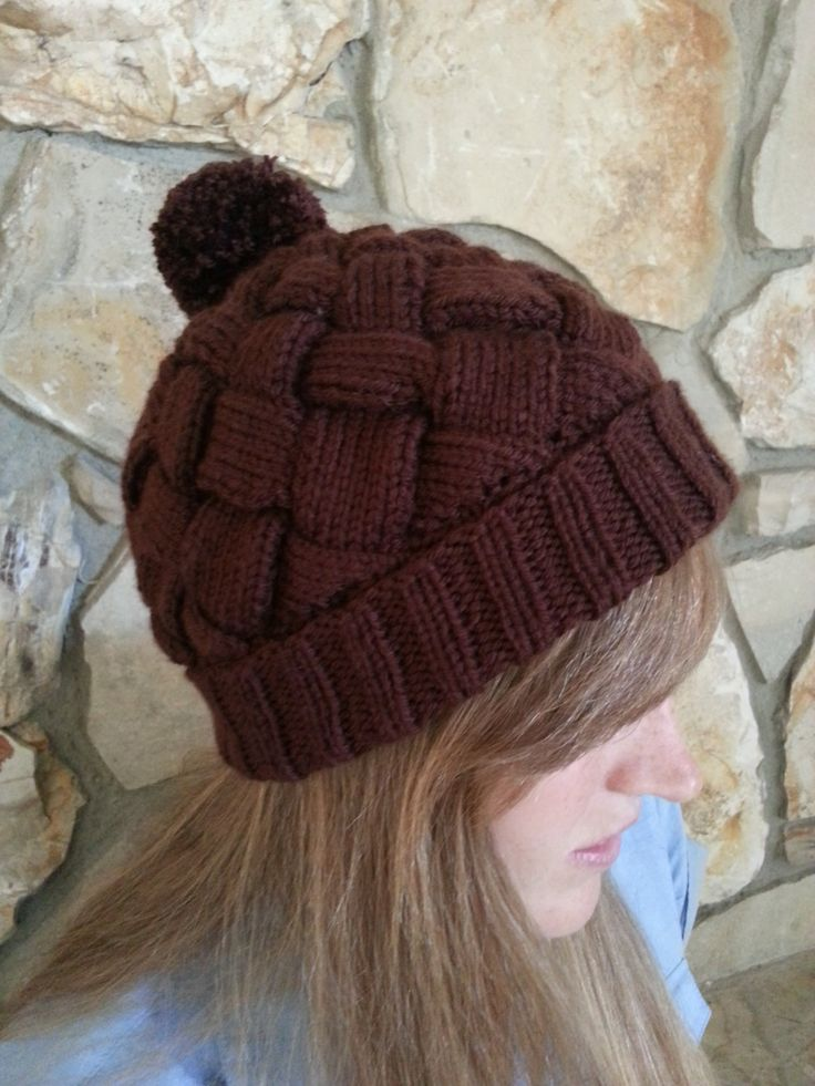 Entrelac Knitted Hat (Beanie) Solid Color Pattern