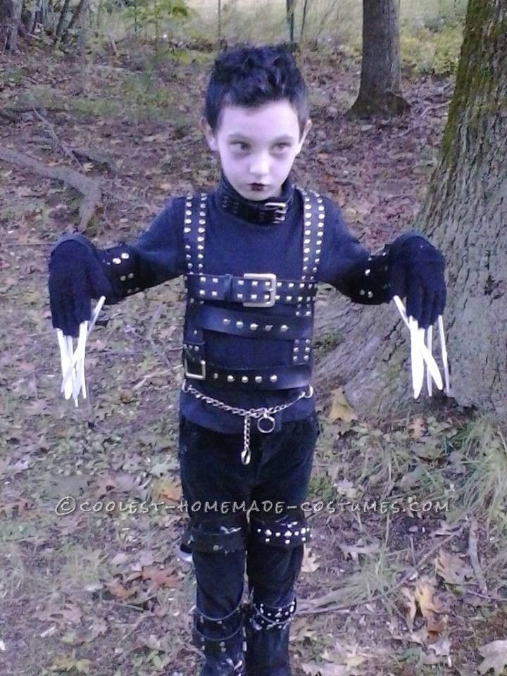 Cool edward scissorhands homemade costume idea for a boy for Homemade halloween costumes for little boys