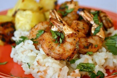 Spicy Shrimp with Grilled Pineapple and Coconut Rice Pilaf | Lauren's ...