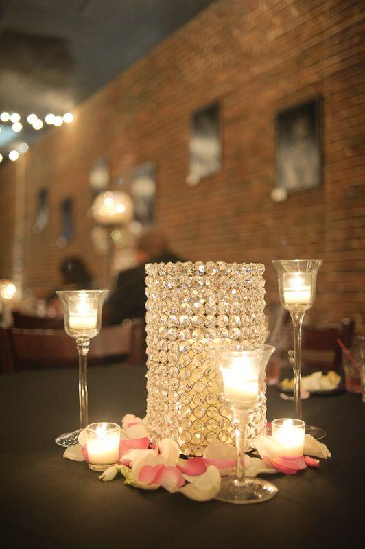 Crystal candle holder centerpiece weddings pinterest