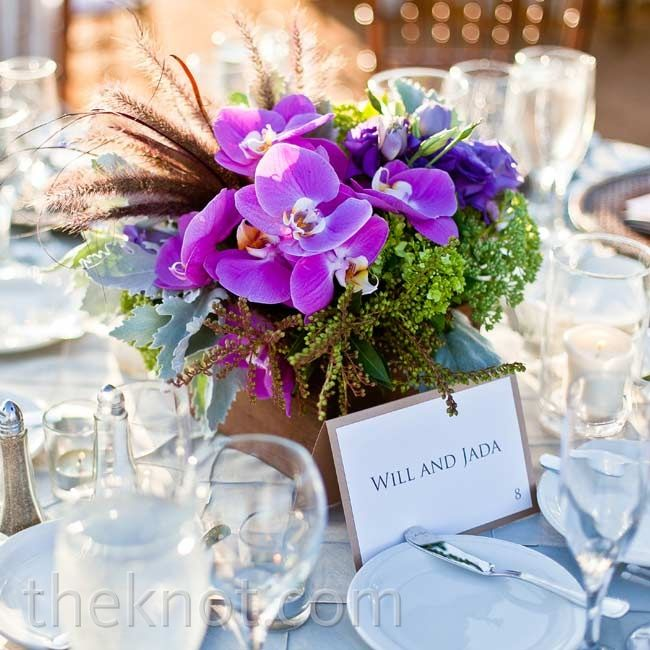 Low purple phalaenopsis orchid centerpieces love the