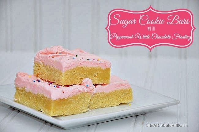 ... 12 Cookies: Sugar Cookie Bars with Peppermint-White Chocolate Frosting