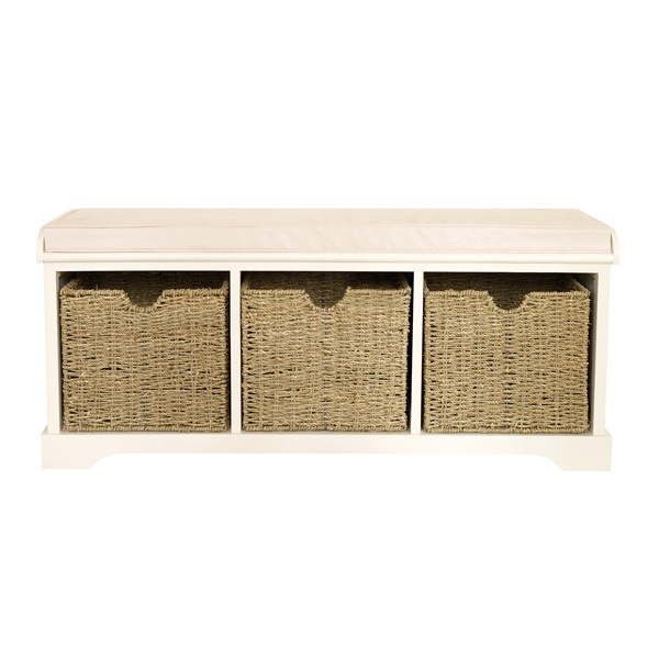 Cottage White Storage Bench Driftwood Cottage Living Area Pintere