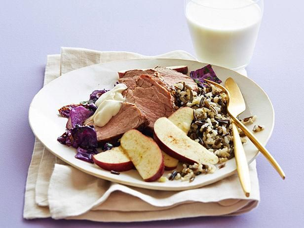 Pork and Cabbage with Wild Rice and Spiced Apple #myplate #letsmove #veggies #protein #dairy #grains