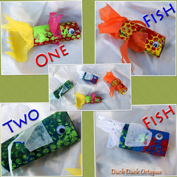 Cardboard tube fish craft. We made these after reading One fish, two fish, red fish, blue fish by Dr. Seuss.