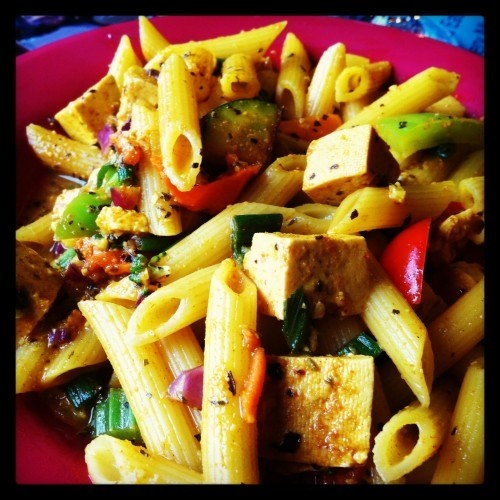 Pineapple Curry Tofu Penne at Rasta Pasta