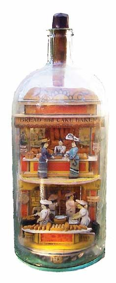 Folk Art in A Bottle - Made late 1890's - two story building with women shopping and bakery.