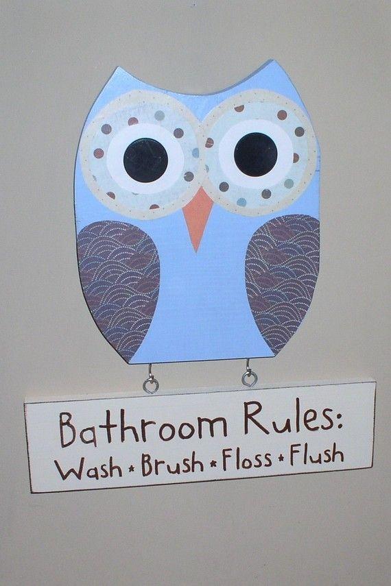 Owl Bathroom Decor Wooden Owl Bathroom Rules Sign