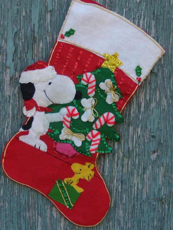 Vintage snoopy and woodstock christmas stocking 12 00