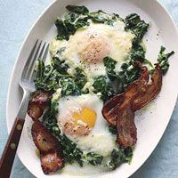 RATING: 9 -- Creamed Spinach with Eggs and Bacon. I made this and it ...
