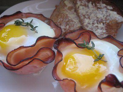 Baked Eggs And Mushrooms In Ham Crisps Recipes — Dishmaps