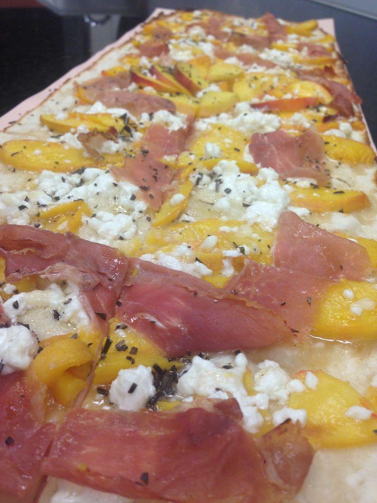 Peach & Prosciutto Pie with mascarpone, asiago, goat cheese ...