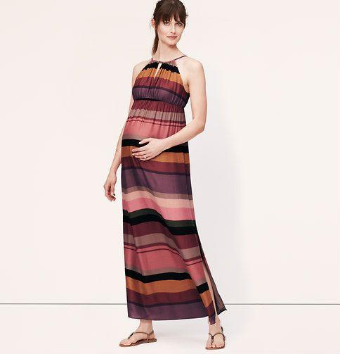 Maternity Striped Keyhole Halter Maxi Dress | Loft