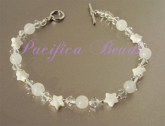 Swarovski crystal quartz and howlite bracelet by pacificacreations