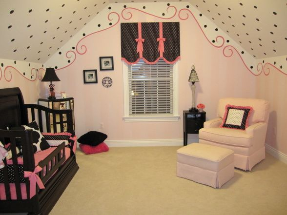 This nursery is so cute, love the wall and ceiling painting, it ties in the entire room without over doing it.